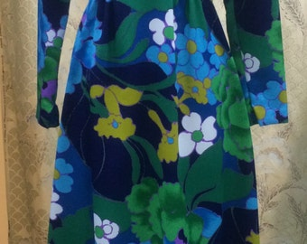 Tori Richards Hawaiian Floral Maxi Dress?Green and Blue Vintage Dress 1970s