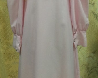 1970's Pink Maxi Dress/Hippie Dress/ Size Large, Size L