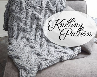 Chunky Blanket Cable Pattern - Knitting Throw Pattern - Extreme Knitting - Knit Grey Blanket - Intermediate Knitting Pattern