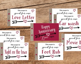 Anniversary gift or Valentine Love coupon book. 22 coupons. Husband gift. Instant printable. PDF. Happy Anniversary coupon book. Wife gift.