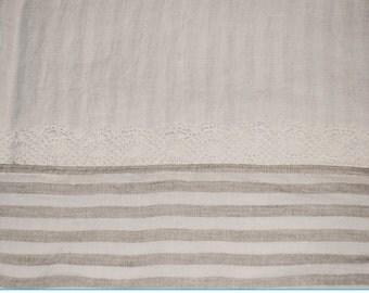 Linen flat sheet with lace and striped hem, pure linen sheets, washed linen top sheet, linen bedding, Queen King linen sheets
