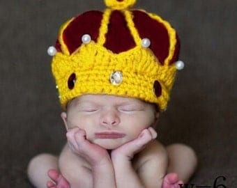 Handmade crochet baby King Crown.