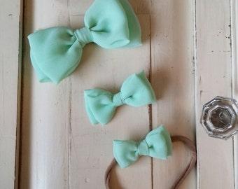 Mint Chiffon Bow