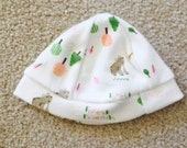 Premature Baby Girls Hat - Soft Beautiful Forest Friends Jersey - Handmade - From 1.5lb Up To 8lb - Exclusive Fabrics - Limited Stock