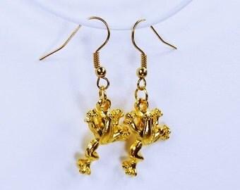 Earrings frogs on gold earrings some frog frog King Schmuck hanging earrings