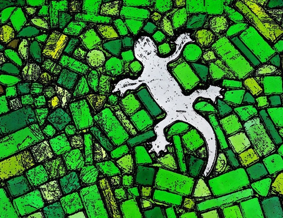 Poster: Gecko-Lizard original art print posterd jerk-white gecko outline on green mosaic Popart 20 x 20 cm