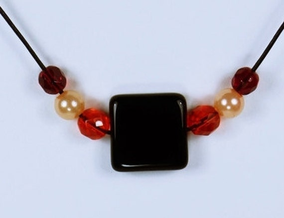 Necklace Cube-Black cube in orange red pearl necklace on black leather strap and pearl red black Jewelry