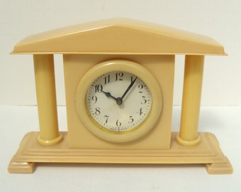 Celluloid Classical Art Deco Style Faux Ivory Small Clock Non-Working