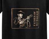 BILL MONROE Father Of Bluegrass Mandolin Tee Woodcut Print Tshirt - Country Music Mando