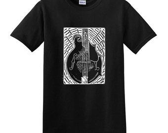Gibson BLUEGRASS MANDOLIN Tee - Woodcut Print Mando tshirt