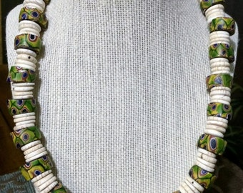 20'' Mosaic Millefiori and Ostrich shell necklace.