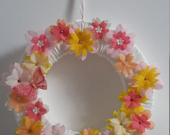 Crepe paper flower wreath