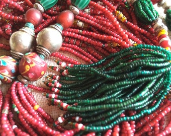 Necklace of Venetian glass trade beads, multi-strand, statement piece, with Bali silver