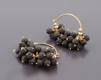 Lava Stone Earrings , Black Earrings, Stone Earrings, Black Lava Earrings, Lava Jewelry, Lava Rock