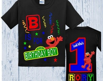 Elmo Birthday Shirt - Elmo Shirt - Front and Back Design