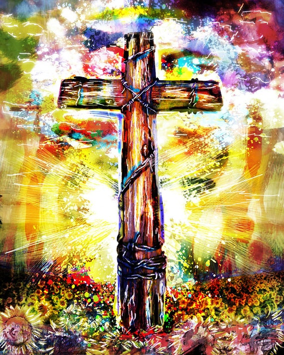Christian cross art print cross art christian painting for Cross paintings on canvas