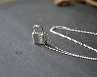 Sterling silver lock pendant- lock necklace- sterling silver padlock - sterling silver lock necklace- sterling silver bead chain