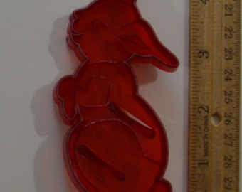 "Vintage HRM PETER RABBIT Cookie Cutter | 1963 4.5"" Red Clear Plastic Bunny"