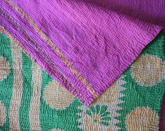 Vintage Indian Kantha throw in green and fuchsia