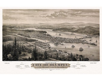 Vintage Panoramic Map of Olympia Washington 1879 Thurston County - Wall Decor - Poster Print - Historic Americana - Old Maps and Prints