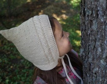 Handmade knitted hat. Baby Pixie Hat. Toddler hat.  Elf hat. Beige hat.  Pixie Bonnet. Toddler Hat. Merino & Cashmere Wool hat.