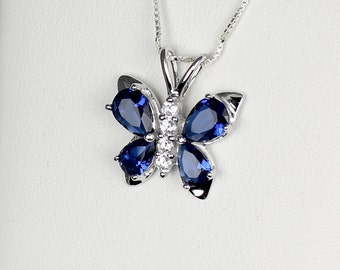 Blue Sapphire Sterling Silver Necklace / Pendant