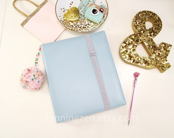 Gray Lattice Planner Band with Pen Loop | Pretty Book Band