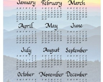 Personalized Wall Calendar - Mountain Sunrise
