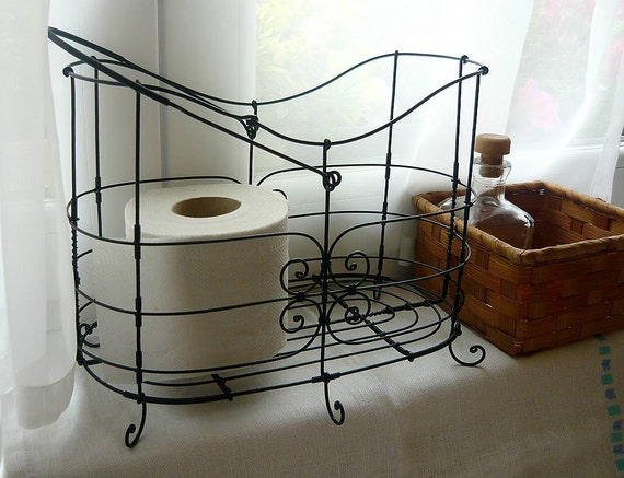Metalen ijzeren mand gepatineerd wc papier sier cottage - Rustieke wc ...