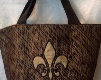 Black and Gold Fleur de Lis Bucket Bag/Purse
