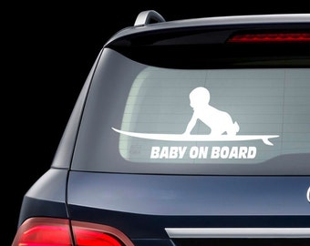 Surfboard Baby on Board Car Decal Baby On Board Surf Sticker Truck Rear Window Vinyl Stickers