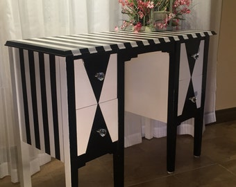Beautiful hand painted desk done in the Art Deco / Alice in Wonderland style.