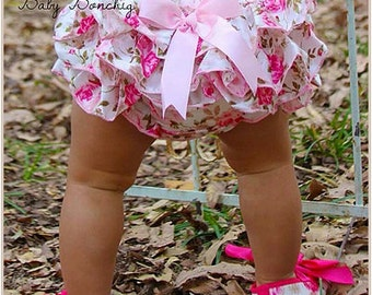 Floral ruffle satin bloomers baby girl pink bow bottoms