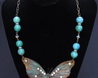 Brass Butterfly Statement Necklace with Rhinestones