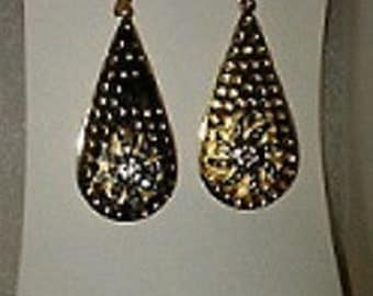 Devi Rao Sterling Silver 18K Gold Dipped Dangle Earrings With Sunburst. No Stone.