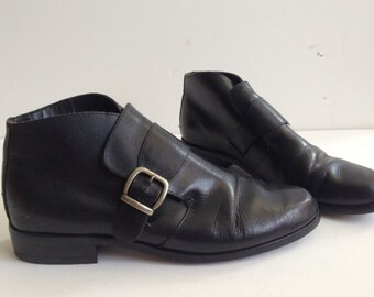90s Black Leather Ankle Boots, Sz 7.5