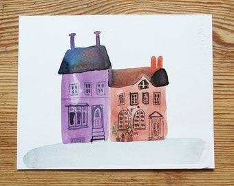 Original Watercolour sketch, 'Houses'