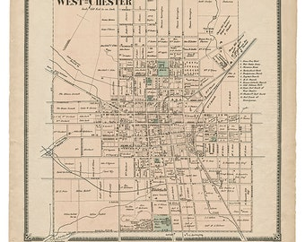 West Chester, PA 1873 Witmer Map Reproduction