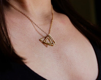 Petite Triangle Necklace / Triangle Pendants / Geometric Jewelry / Minimalist Necklace / Gold Toned Brass / Simple Everyday Necklace