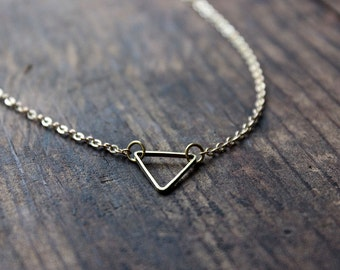 Upside Down Gold Triangle Necklace / Triangle Pendant / Geometric Necklace / Bridesmaid Jewelry / Gold Toned Brass / Simple Everyday Jewelry
