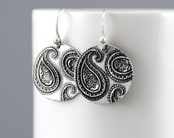 Sterling Silver Paisley Dangle Earrings, Paisley Earrings, Silver Bohemian Jewelry, Handmade Paisley Drop Earrings, Rustic Jewelry For Her