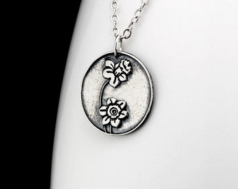 Daffodil Necklace - Flower Necklace - Silver Daffodil Pendant - Flower Jewelry - Silver Flower Necklace -Boho Necklace - Gift for Her