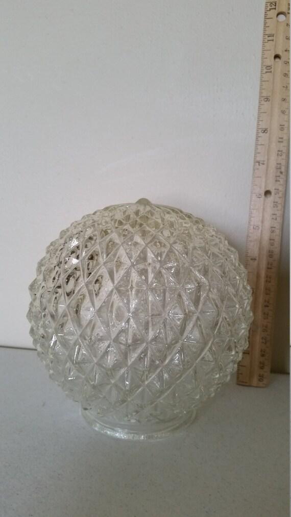 Vintage Diamond Point Cut Crystal Clear Glass Lamp Shade