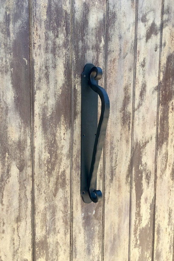 Scroll Door Pull Handle Hand Forged Hammered Scroll Rustic