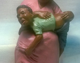 "Handpainted ""Lady Spanking Child"" Shelf Sitter"