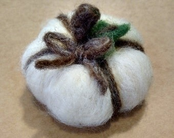 White Wool Felted Pumpkin