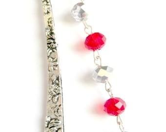 Red crystal angel wings bookmark
