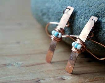 Wire Wrapped Copper Stick Earrings - Copper Bar Earrings - Wire Wrapped Jewelry - Wire Wrapped Earrings - Turquoise and Copper