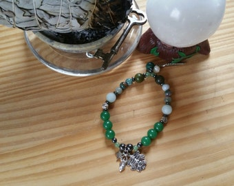 GreenMan and Goddess Celtic Heal, Balance, Protect stretchy bracelet w/Aventurine Amazonite Hematite Jasper Unakite Malachite Pearl Silver