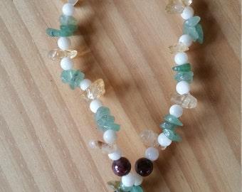 Stress Relief Bracelet - Amazonite, Aventurine, Citrine, Garnet - Calming, Peaceful Serenity, Hope, Balancing, Helps Fight Depression